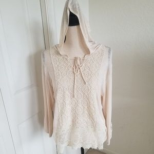 Mauve Beige Lace Top with Hood